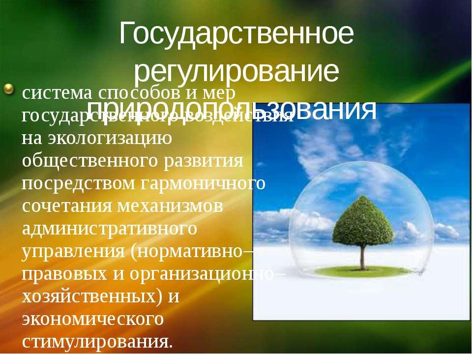 Государственное регулирование природопользования система способов и мер госуд...