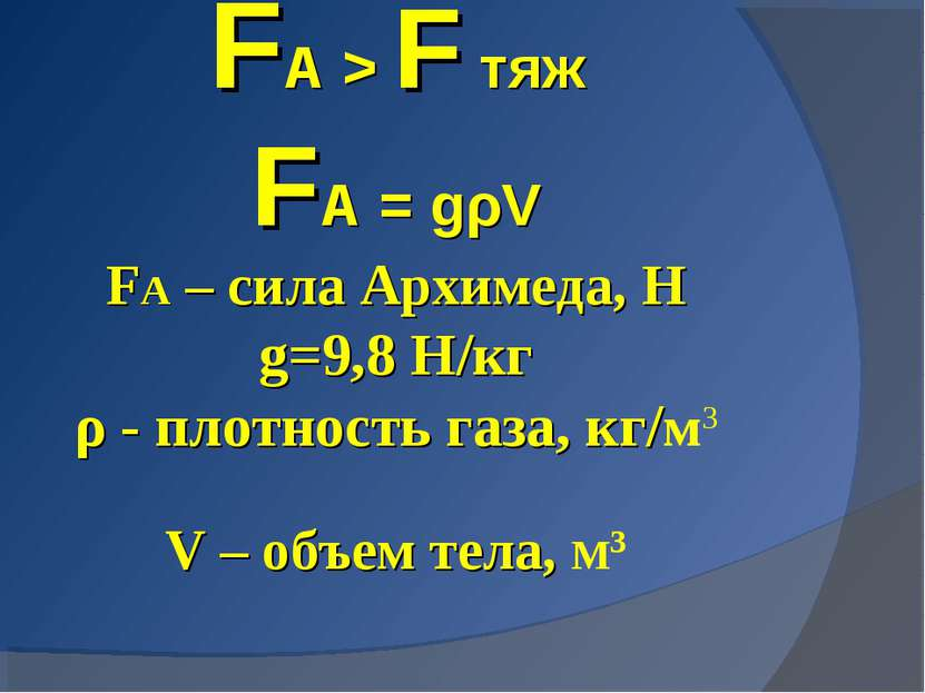 FA > F тяж FA = gρV FA – сила Архимеда, Н g=9,8 H/кг ρ - плотность газа, кг/м...
