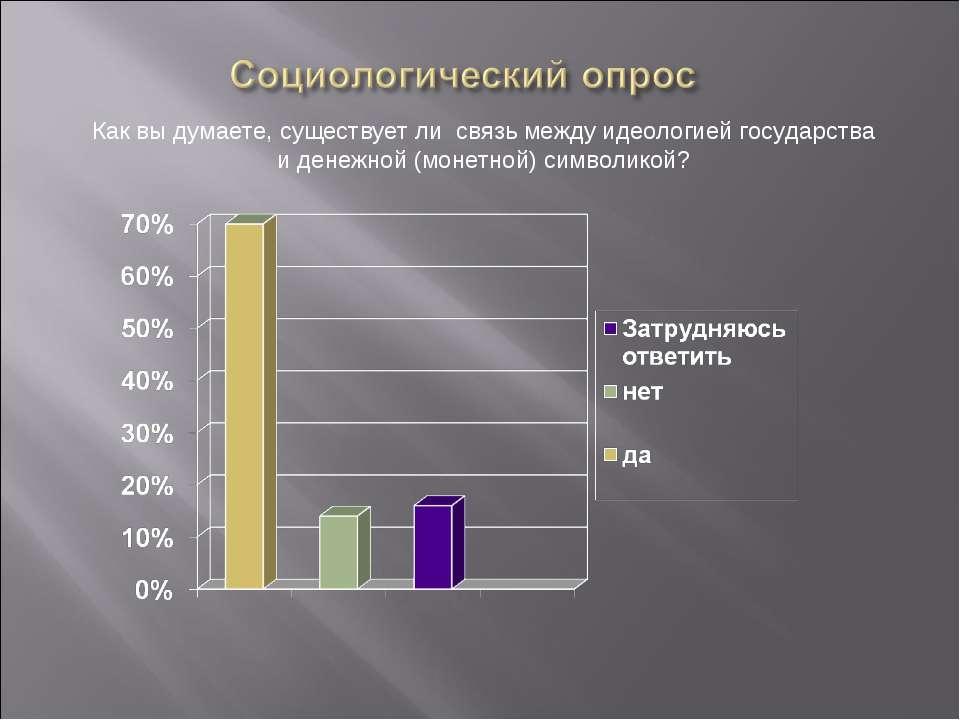 Как вы думаете, существует ли связь между идеологией государства и денежной (...
