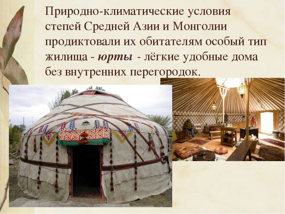 Природно-климатические условия степей Средней Азии и Монголии продиктовали их...