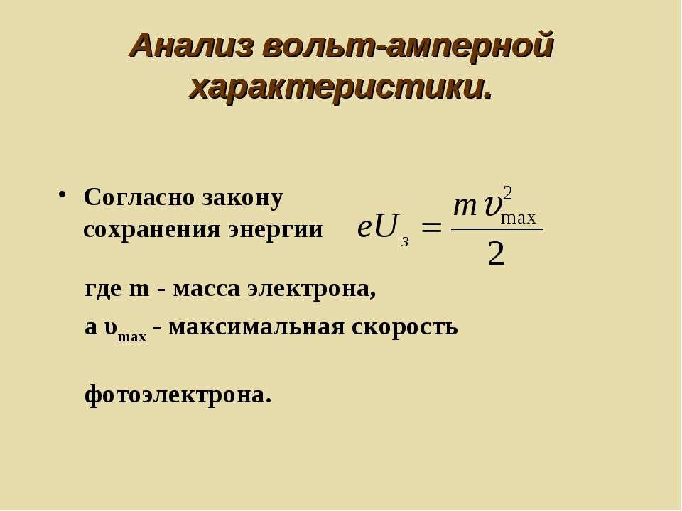 Анализ вольт-амперной характеристики. Согласно закону сохранения энергии где ...