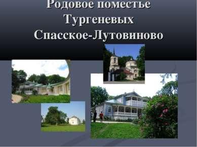Родовое поместье Тургеневых Спасское-Лутовиново
