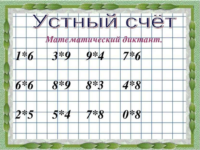 Математический диктант. 1*6 3*9 9*4 7*6 6*6 8*9 8*3 4*8 2*5 5*4 7*8 0*8