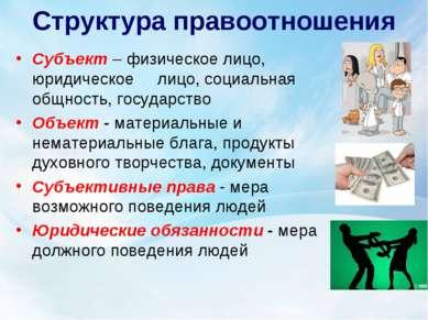 Структура правоотношения Субъект – физическое лицо, юридическое лицо, социаль...