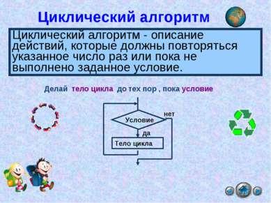 Циклический алгоритм Циклический алгоритм - описание действий, которые должны...