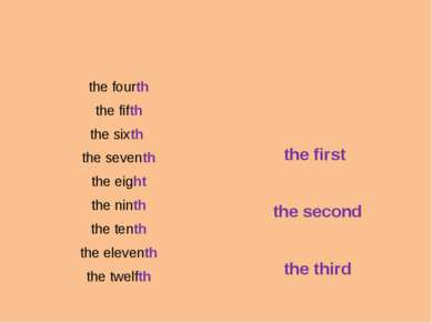 the fourth the fifth the sixth the seventh the eight the ninth the tenth the ...