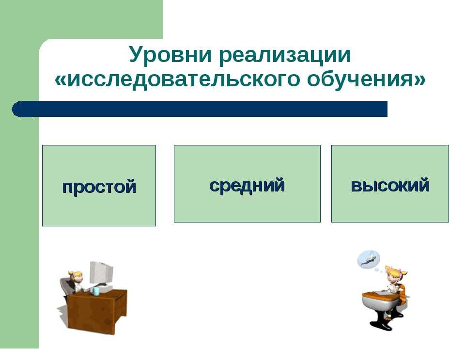 Уровни реализации «исследовательского обучения» простой средний высокий