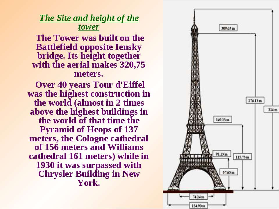 The Site and height of the tower The Tower was built on the Battlefield oppos...