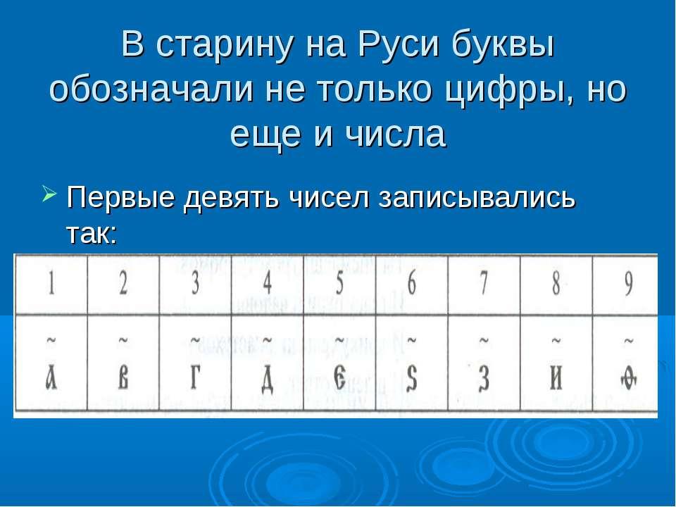 В старину на Руси буквы обозначали не только цифры, но еще и числа Первые дев...