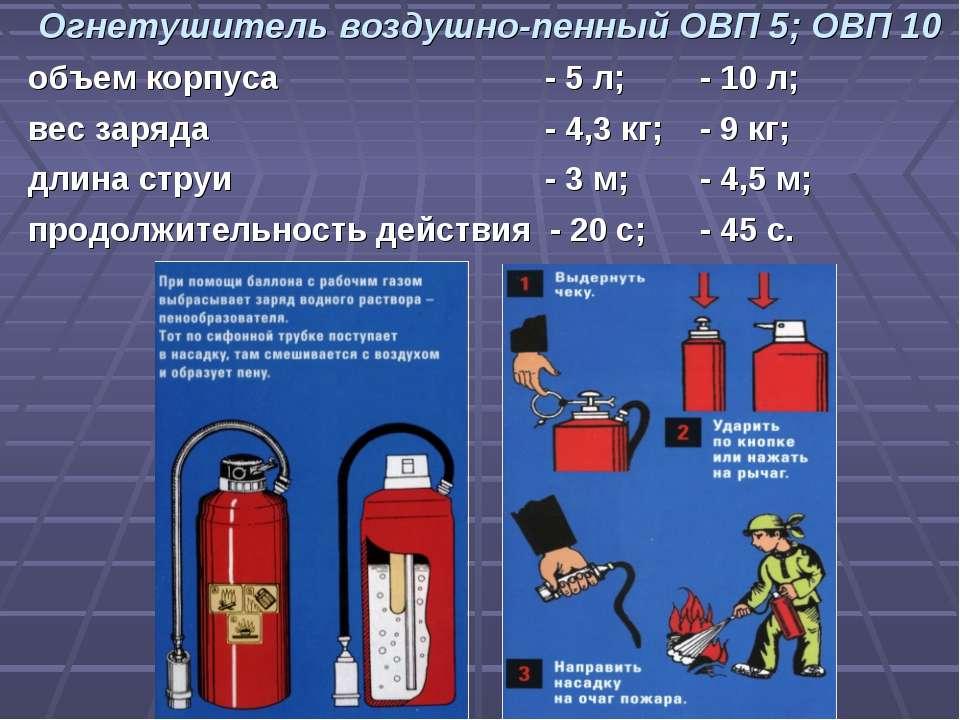 Огнетушитель воздушно-пенный ОВП 5; ОВП 10 объем корпуса - 5 л; - 10 л; вес з...