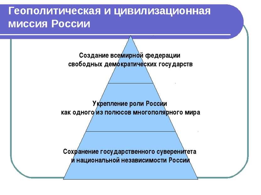 Геополитическая и цивилизационная миссия России
