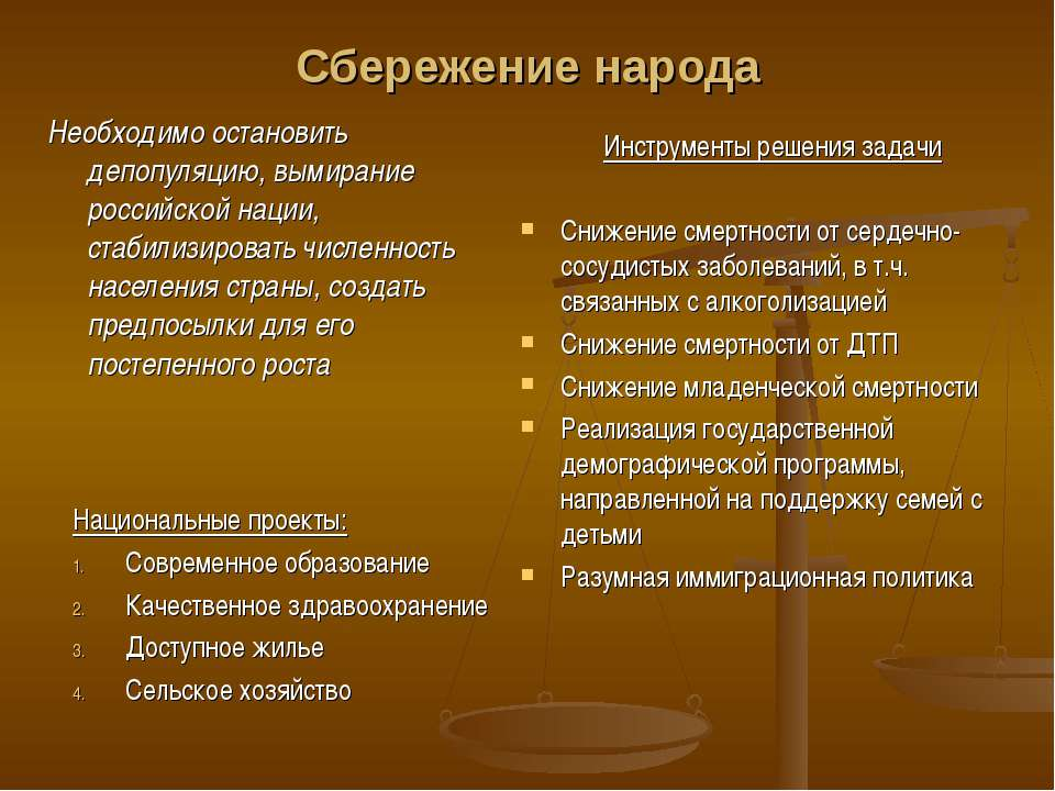 Сбережение народа Необходимо остановить депопуляцию, вымирание российской нац...