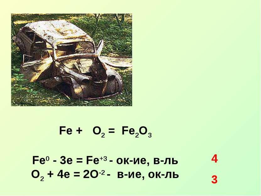 Fe + O2 = Fe2O3 Fe0 - 3e = Fe+3 - ок-ие, в-ль O2 + 4e = 2O-2 - в-ие, ок-ль 4 3