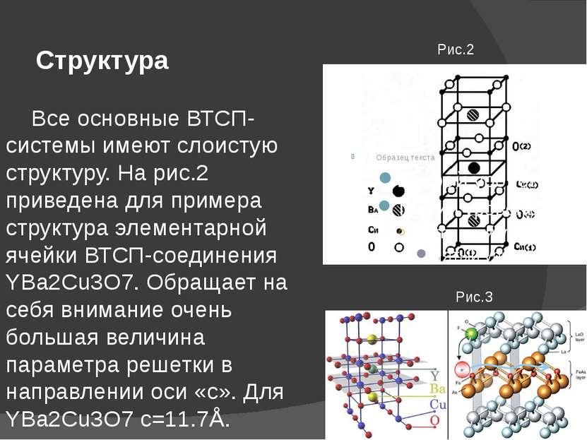 Структура Все основные ВТСП-системы имеют слоистую структуру. На рис.2 привед...