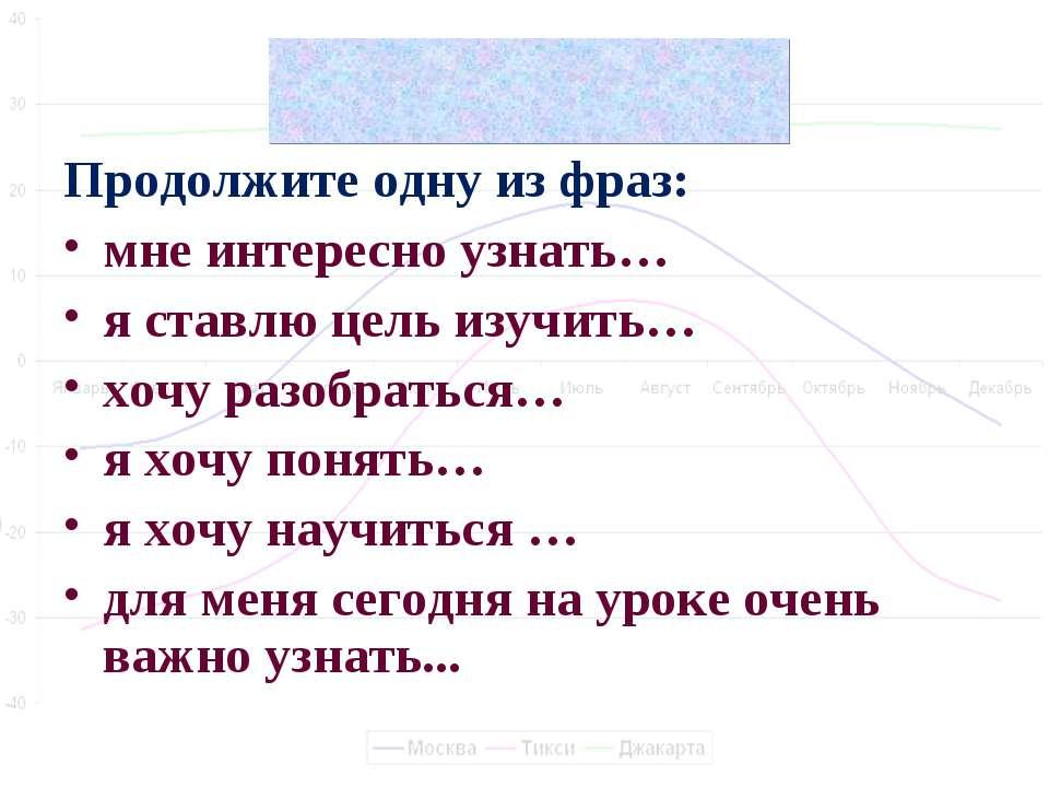 Цели урока Продолжите одну из фраз: мне интересно узнать… я ставлю цель изучи...