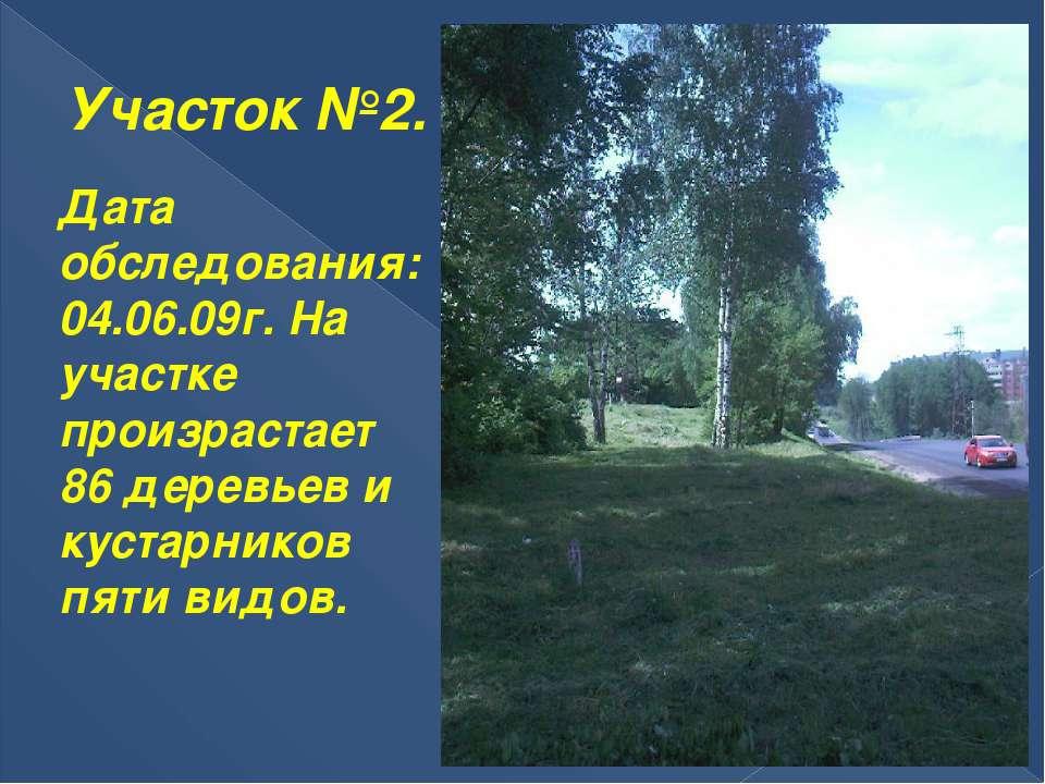 Участок №2. Дата обследования: 04.06.09г. На участке произрастает 86 деревьев...