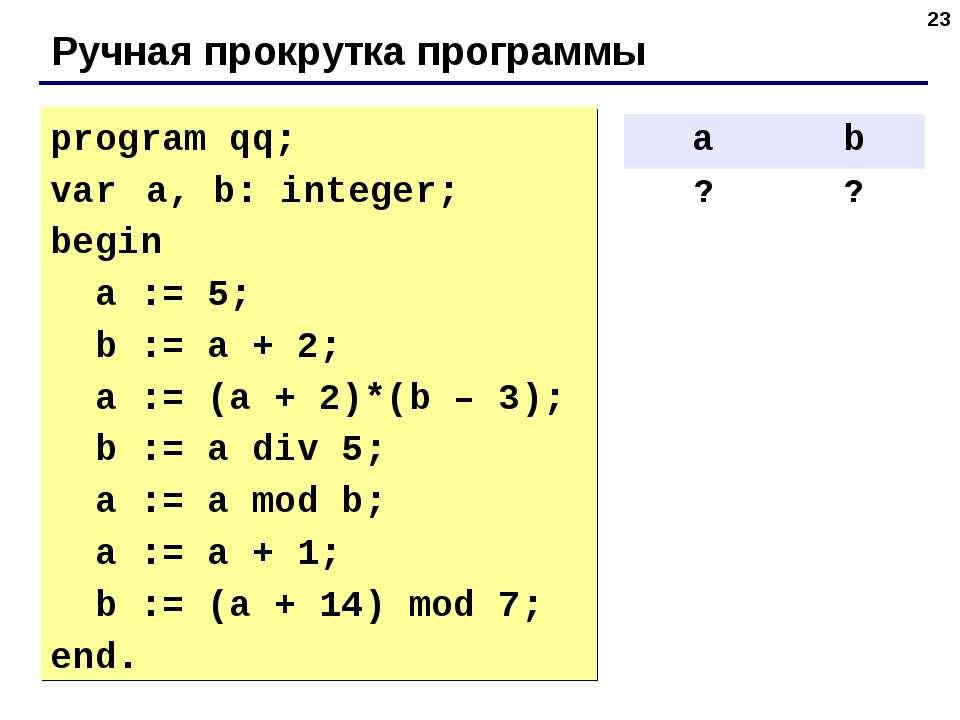 * Ручная прокрутка программы program qq; var a, b: integer; begin a := 5; b :...