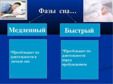 Фазы сна… Медленный Быстрый *Преобладает по длительности в начале сна *Преобл...