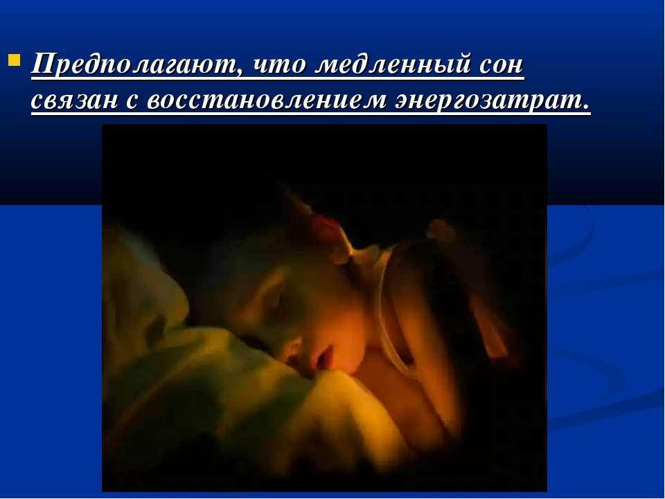 Предполагают, что медленный сон связан с восстановлением энергозатрат.