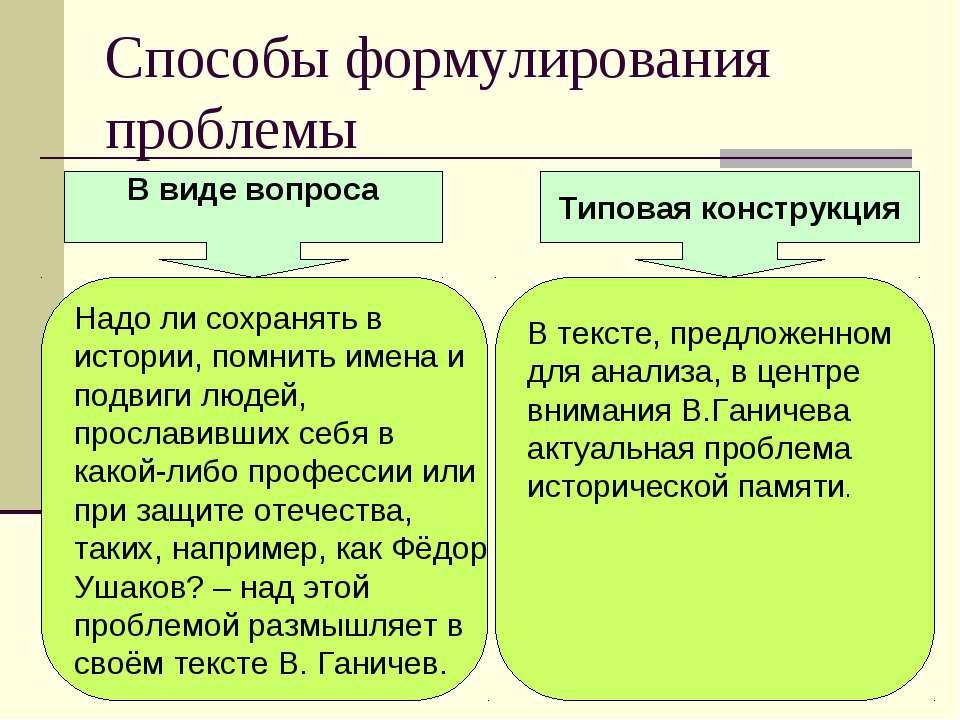 Способы формулирования проблемы В виде вопроса Типовая конструкция В тексте, ...