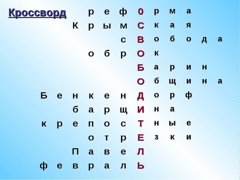 Кроссворд р е ф 0 р м а К р ы м С к а я с В о б о д а о б р О к Б а р и н О б...