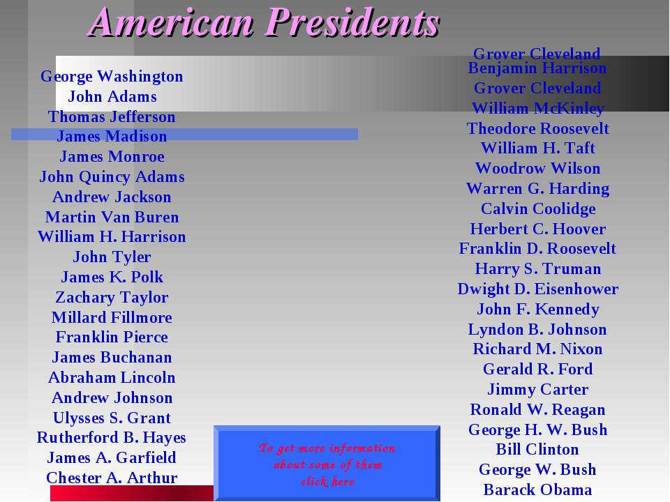 American Presidents George Washington John Adams Thomas Jefferson James Madis...