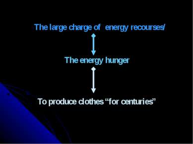 "The large charge of energy recourses/ The energy hunger To produce clothes ""f..."