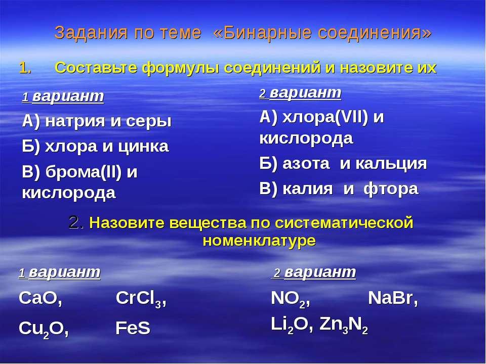 Задания по теме «Бинарные соединения» Составьте формулы соединений и назовите...