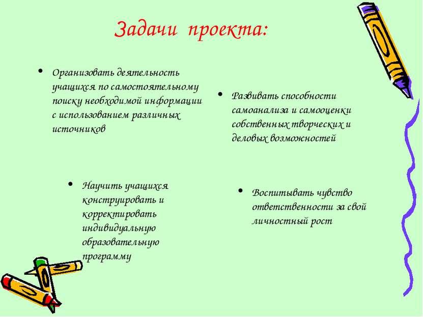 Задачи проекта: Организовать деятельность учащихся по самостоятельному поиску...