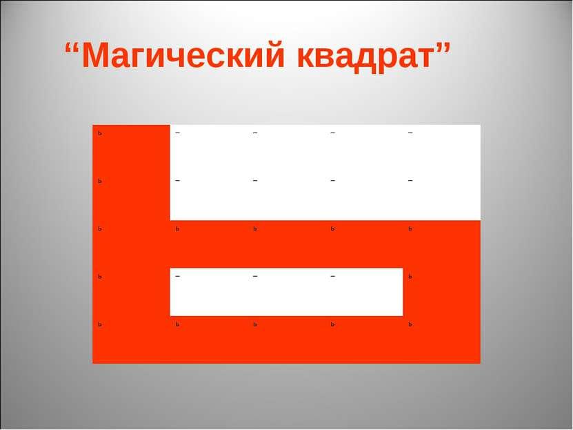"""""""Магический квадрат"""" ь – – – – ь – – – – ь ь ь ь ь ь – – – ь ь ь ь ь ь"""