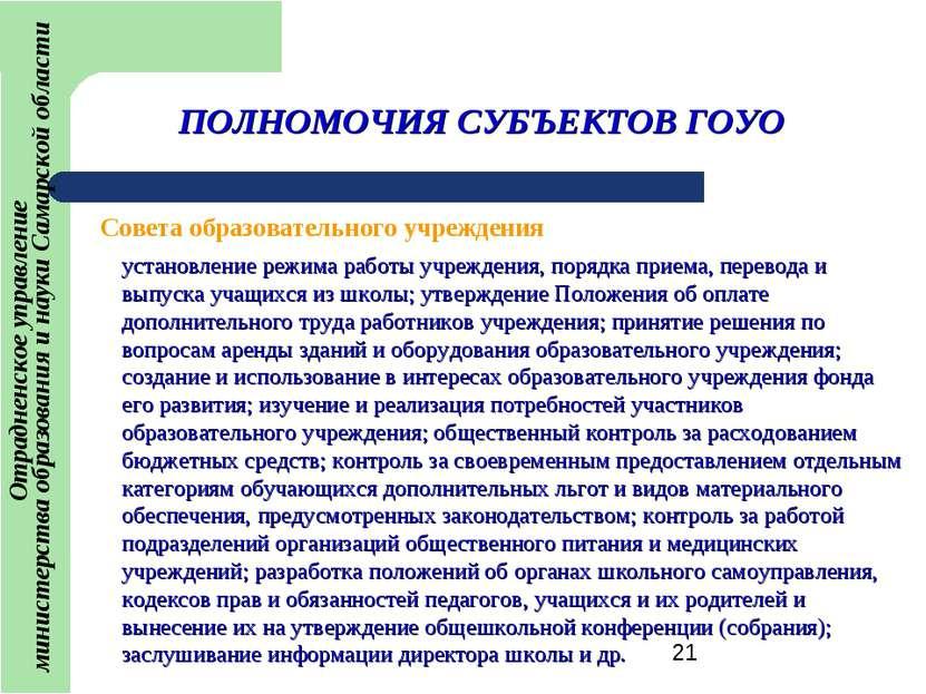 ПОЛНОМОЧИЯ СУБЪЕКТОВ ГОУО установление режима работы учреждения, порядка прие...