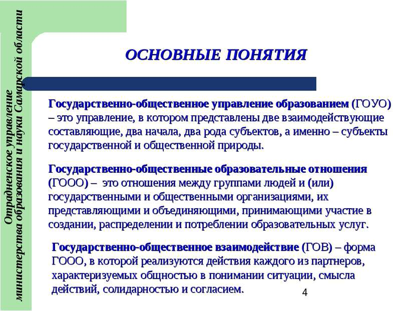 ОСНОВНЫЕ ПОНЯТИЯ Государственно-общественное управление образованием (ГОУО) –...