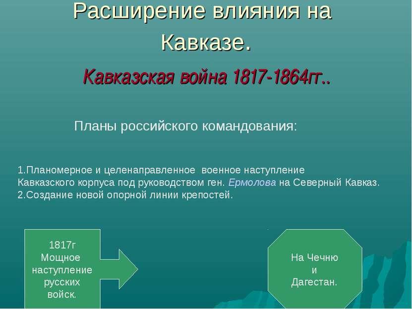 Расширение влияния на Кавказе. Кавказская война 1817-1864гг..