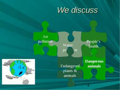 We discuss Dangerous animals Water pollution People's health Air pollution En...