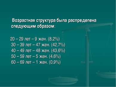 Возрастная структура была распределена следующим образом: 20 – 29 лет – 9 жен...