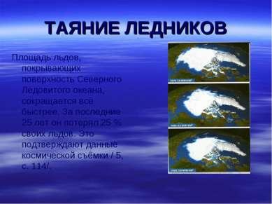 ТАЯНИЕ ЛЕДНИКОВ Площадь льдов, покрывающих поверхность Северного Ледовитого о...