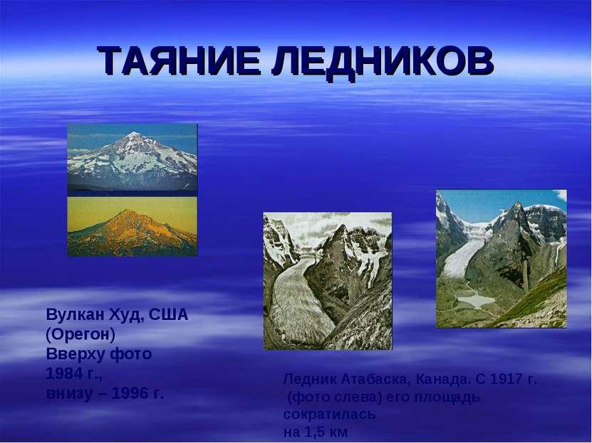 ТАЯНИЕ ЛЕДНИКОВ Вулкан Худ, США (Орегон) Вверху фото 1984 г., внизу – 1996 г....