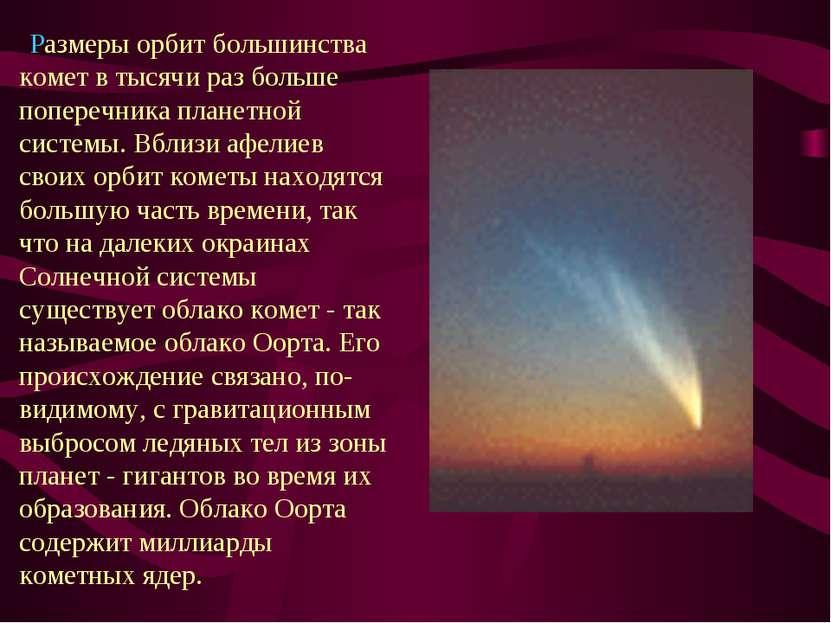 Размеры орбит большинства комет в тысячи раз больше поперечника планетной сис...