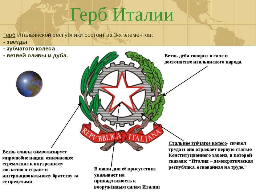 Герб Италии Стальное зубчатое колесо- символ труда и оно отражает первую стат...