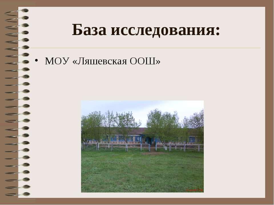База исследования: МОУ «Ляшевская ООШ»