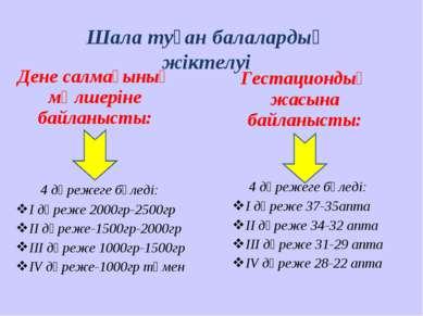 Дене салмағының мөлшеріне байланысты: Гестациондық жасына байланысты: 4 дәреж...