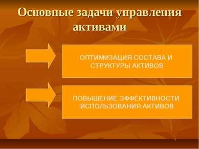 Основные задачи управления активами ОПТИМИЗАЦИЯ СОСТАВА И СТРУКТУРЫ АКТИВОВ П...