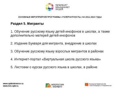 Раздел 5. Мигранты 1. Обучение русскому языку детей-инофонов в школах, а такж...