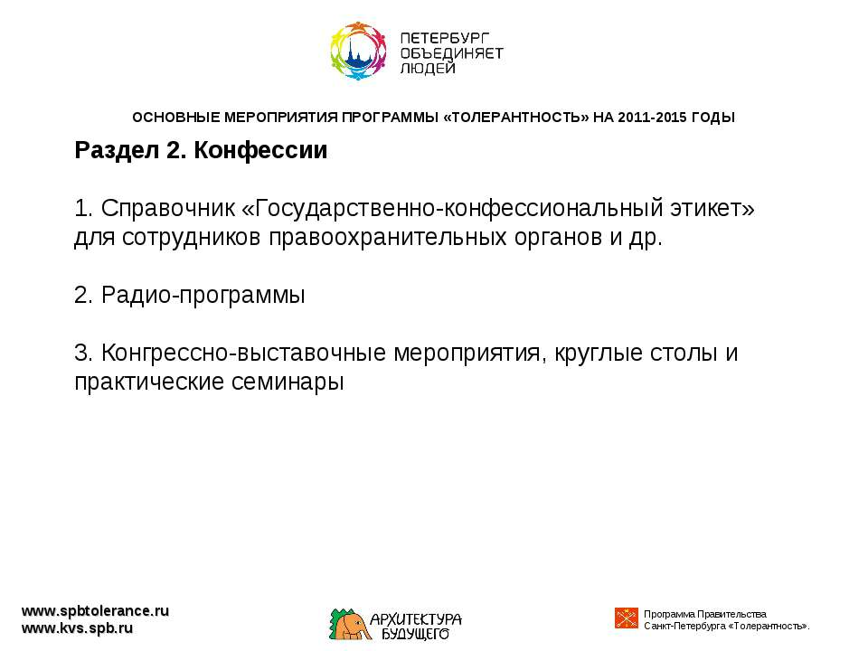 www.spbtolerance.ru www.kvs.spb.ru Раздел 2. Конфессии 1. Справочник «Государ...