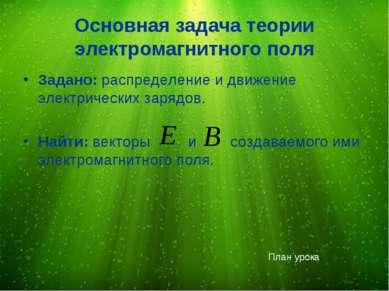 Основная задача теории электромагнитного поля Задано: распределение и движени...