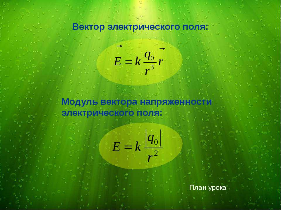 Вектор электрического поля: Модуль вектора напряженности электрического поля:...