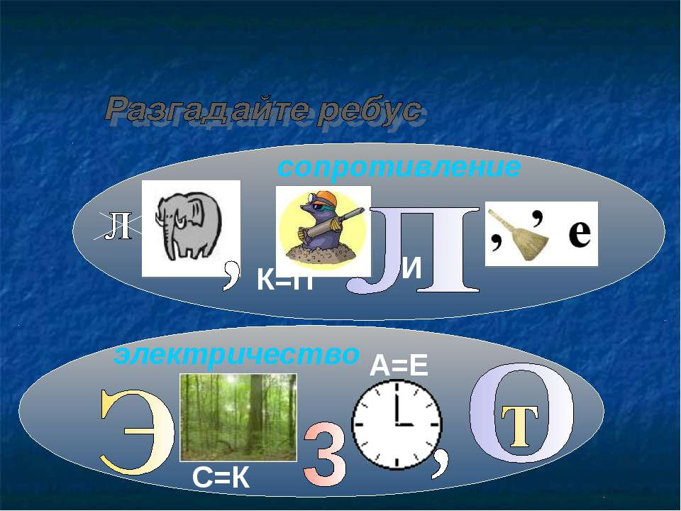 сопротивление электричество С=К А=Е К=П И