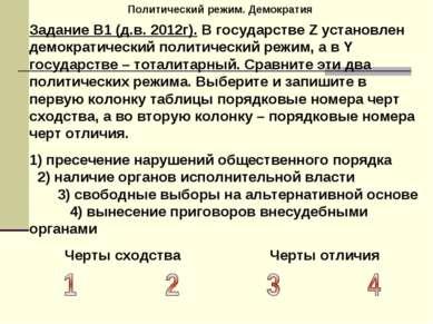 Политический режим. Демократия Задание В1 (д.в. 2012г). В государстве Z устан...