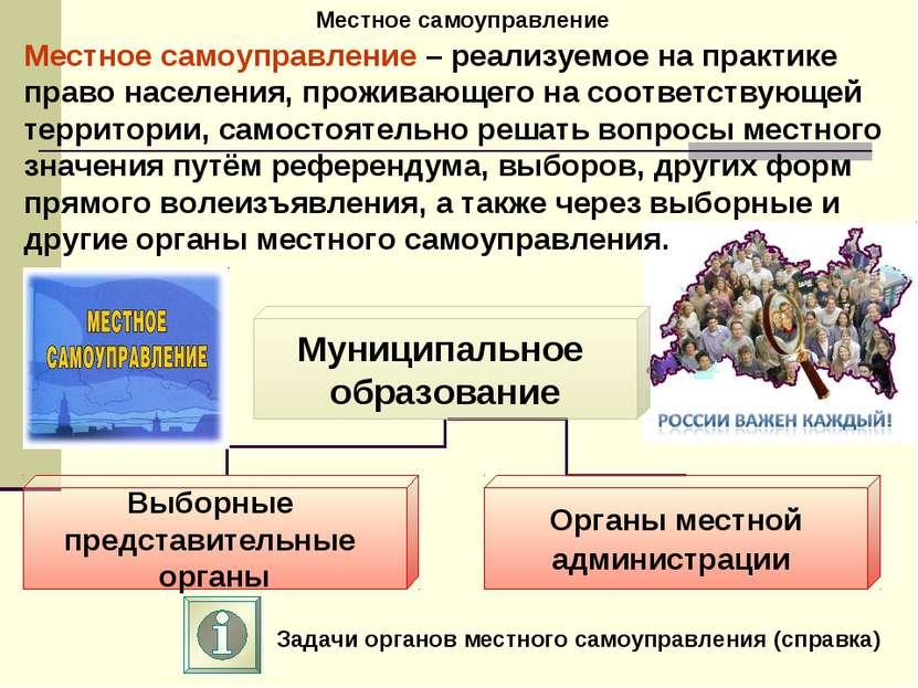 Местное самоуправление Задачи органов местного самоуправления (справка) Местн...