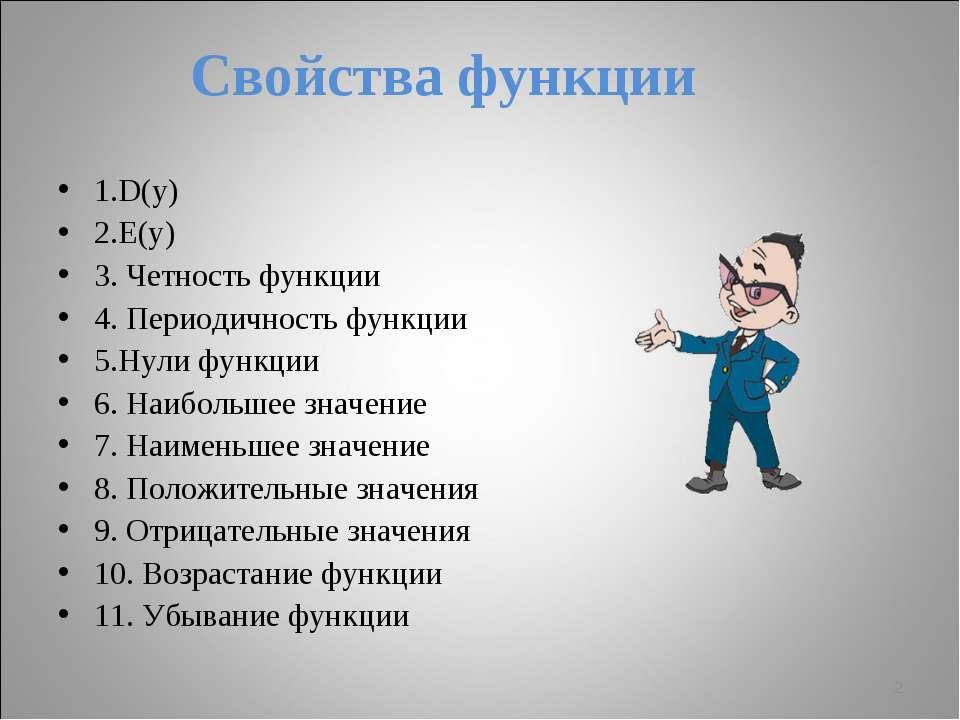 Свойства функции 1.D(y) 2.E(y) 3. Четность функции 4. Периодичность функции 5...